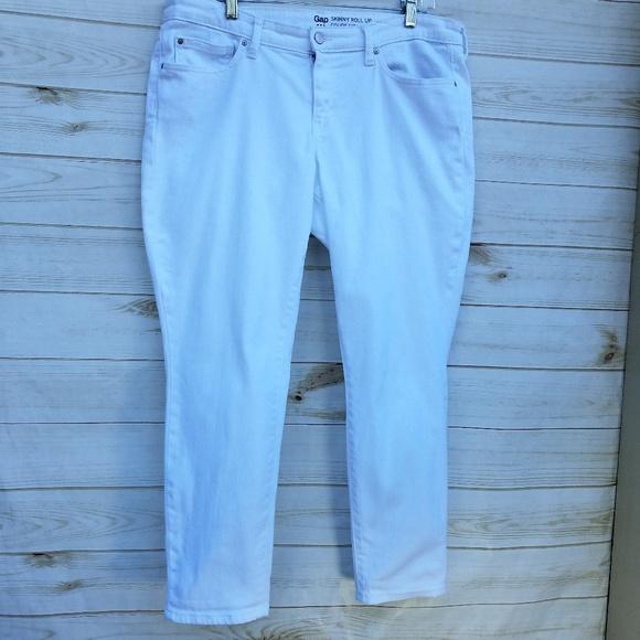 "GAP Denim - Gap Skinny Roll-Up jeans ""18"" white pristine"